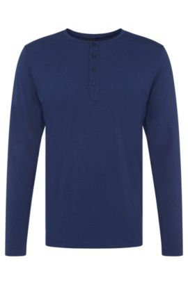 Long-sleeved shirt in stretchy cotton blend with modal: 'LS-Shirt BP Balance', Dark Blue