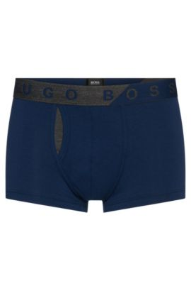 Plain boxer shorts in stretchy cotton blend with modal: 'Trunk Comfort', Dark Blue