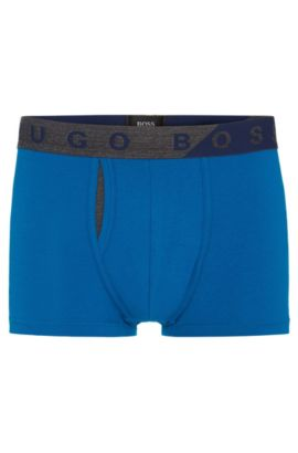 Plain boxer shorts in stretchy cotton blend with modal: 'Trunk Comfort', Blue