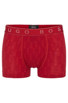 Boxer en coton stretch à motif : « Trunk Logo Overprint », Rouge