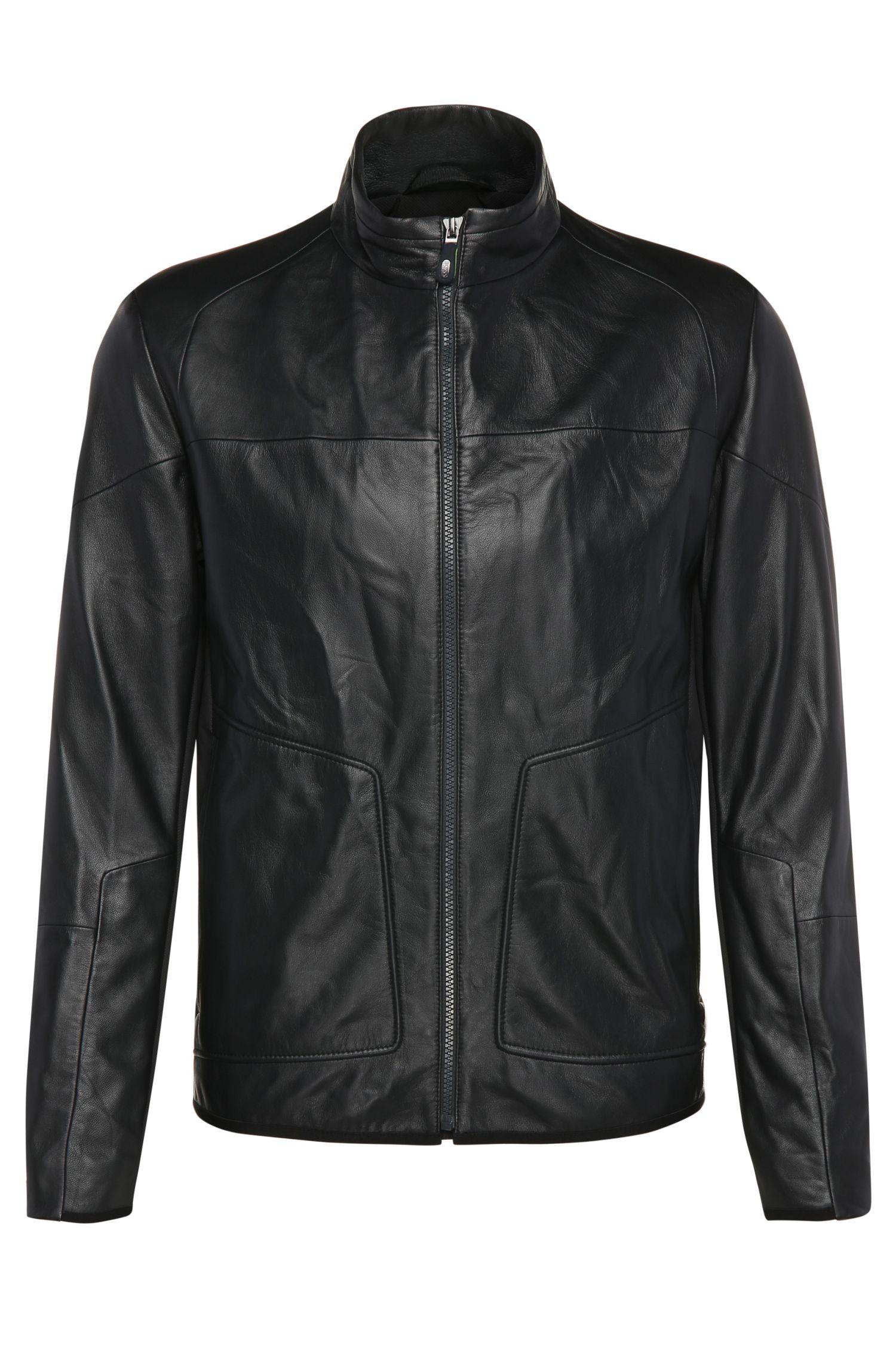Blouson de motard Slim Fit en cuir et tissu structuré: «Jybrid»