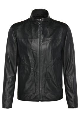 Slim-fit biker jacket in leather and textured fabric: 'Jybrid', Dark Blue