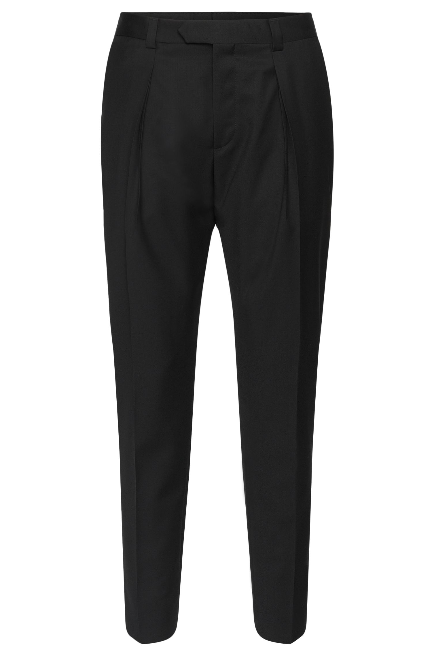 Regular-fit trousers in new wool with pressed creases: 'Hermand'
