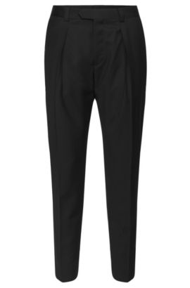 Pantalon Regular Fit en laine vierge à pinces : « Hermand », Noir