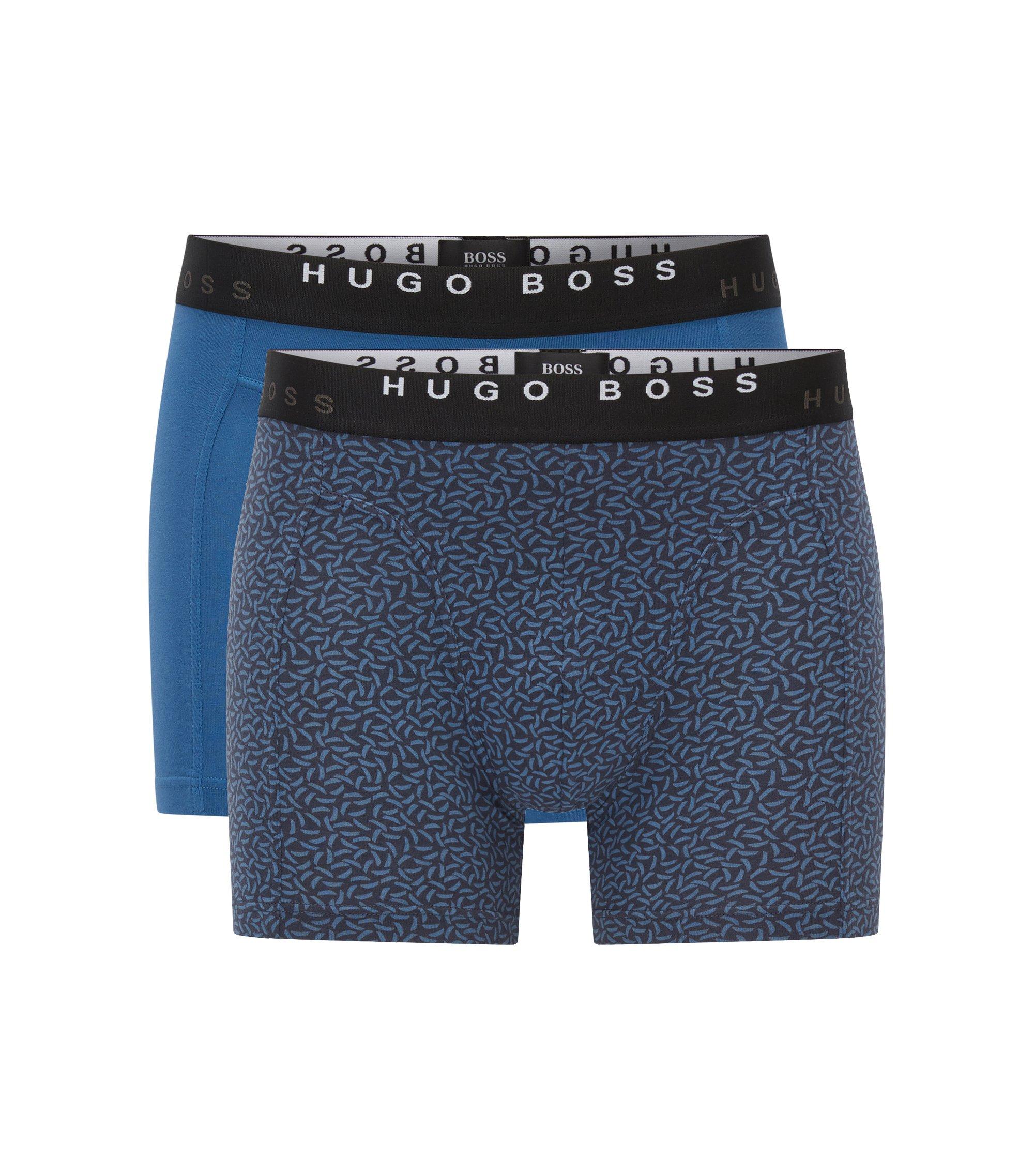 Boxershorts aus elastischer Baumwolle im Zweier-Pack, Gemustert