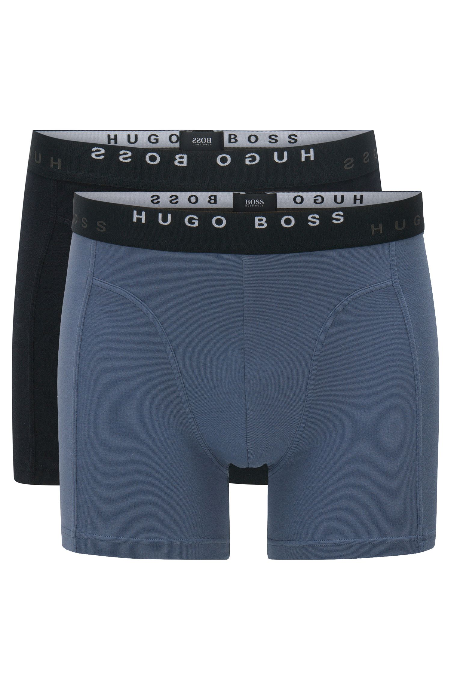 Boxer shorts in stretch cotton in a double pack: 'Boxer Brief 2P Solid'