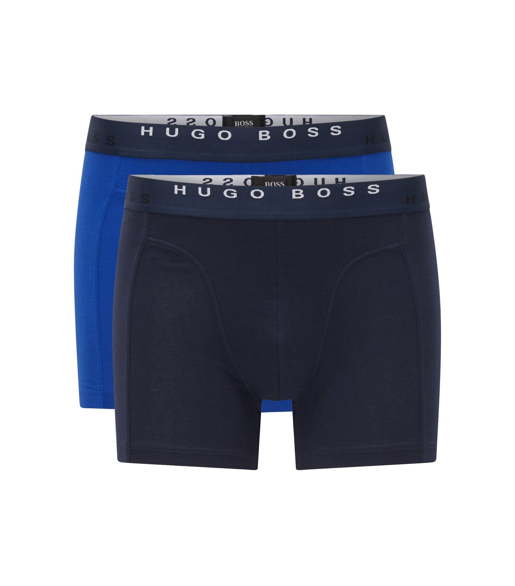 Set van twee boxerslips van stretchkatoenjersey, Donkerblauw