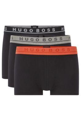 Set van drie elastische boxershorts van katoen, Bedrukt
