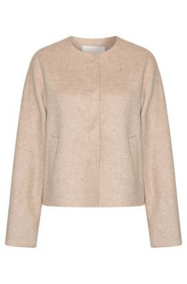 Blouson en laine mélangée avec patte de boutonnage invisible: «Ketsy», Beige clair