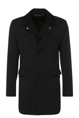 Cappotto corto slim fit in materiali misti con viscosa: 'Bassam', Nero