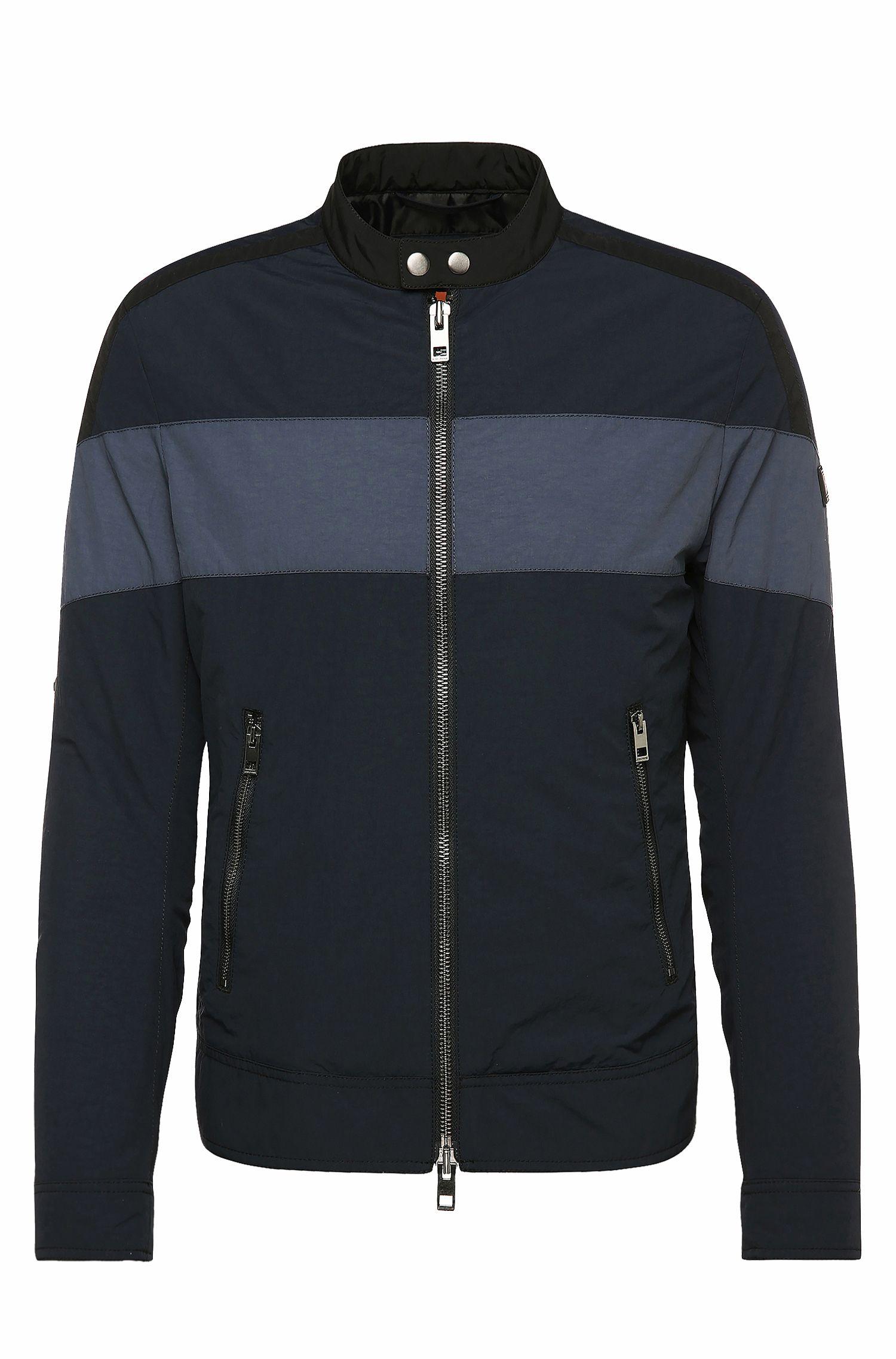 Slim-fit jas van een materiaalmix met contraststrepen: 'Ondro'