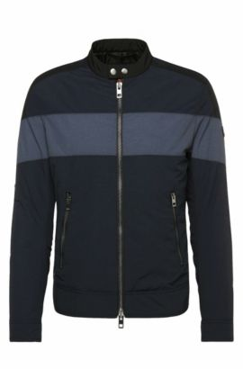 Slim-fit jacket in fabric blend with contrasting stripes: 'Ondro', Dark Blue