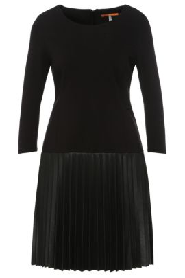 Regular-fit dress in fabric blend with the skirt in leather effect: 'Apliti', Black