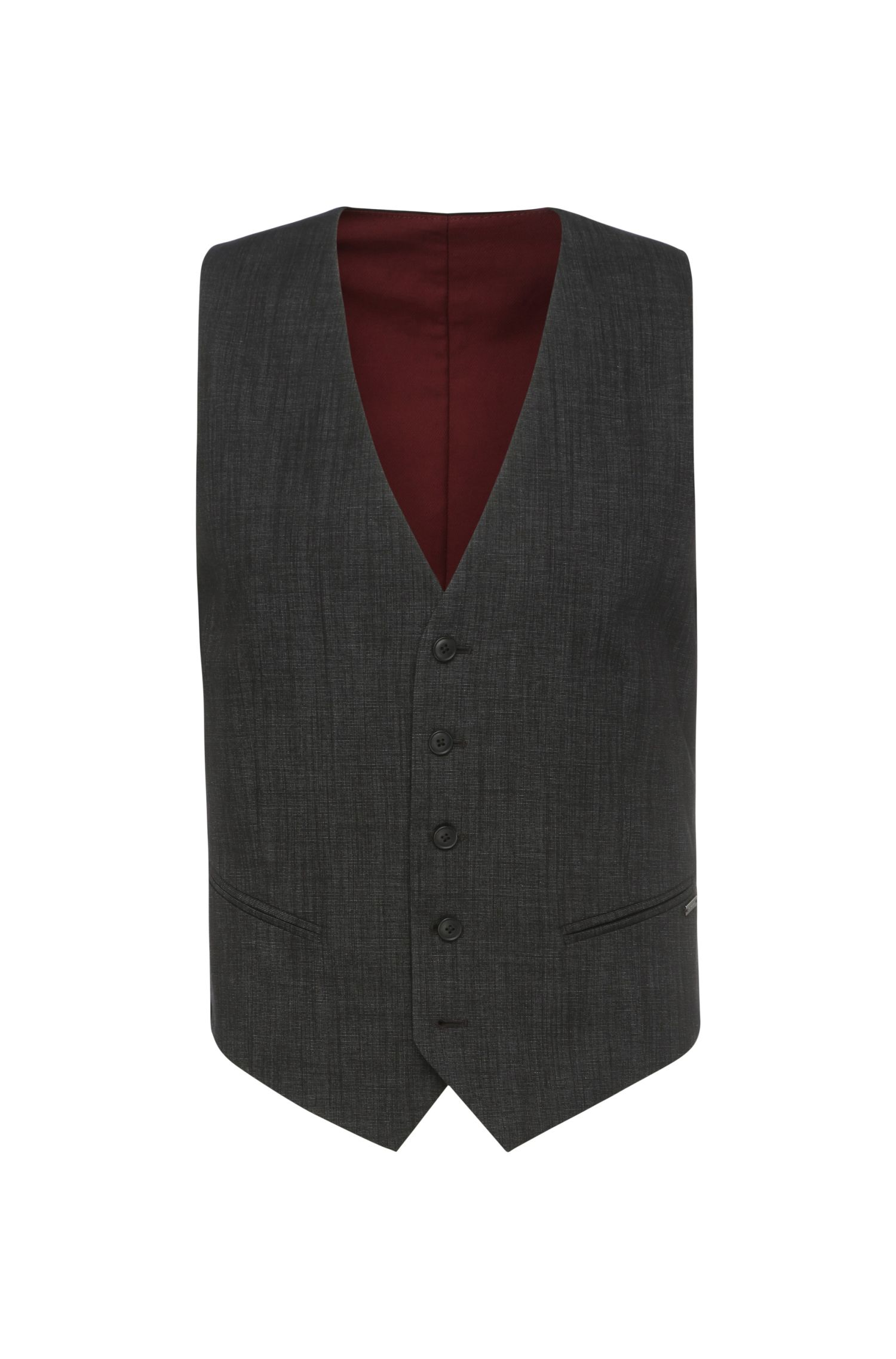 Slim-fit waistcoat in textured cotton blend: 'Bacer1BS'