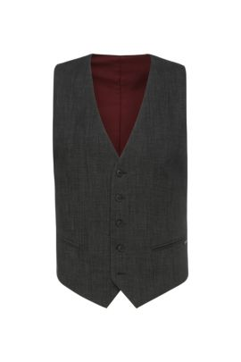 Slim-fit waistcoat in textured cotton blend: 'Bacer1BS', Black