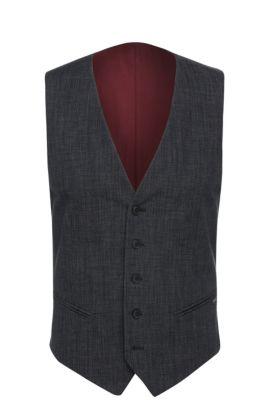 Chaleco slim fit en mezcla de algodón con textura: 'Bacer1BS', Azul oscuro
