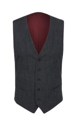 Slim-fit waistcoat in textured cotton blend: 'Bacer1BS', Dark Blue