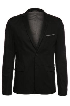 Veste de costume Slim Fit en coton extensible avec épinglette et pochette: «Benestretch6», Noir