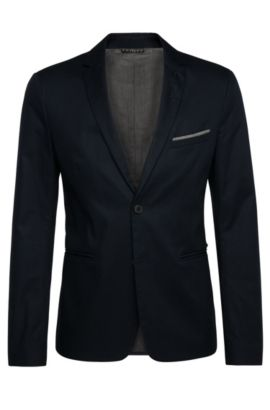 Slim-fit jacket in stretch cotton with a pin and pocket square: 'Benestretch6', Dark Blue