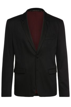 Slim-fit jacket in a stretchy cotton blend: 'BarkaaBS', Black