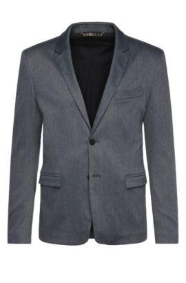 Veste de costume Slim Fit en coton mélangé extensible: «BarkaaBS», Bleu foncé