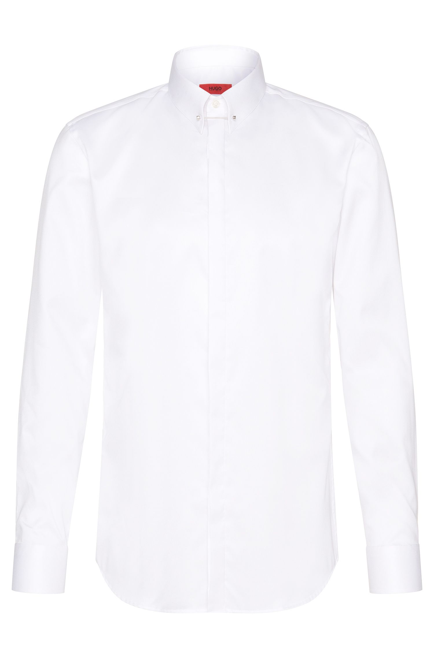 Slim-fit shirt in easy-iron cotton with collar stand: 'C-Jenzel'