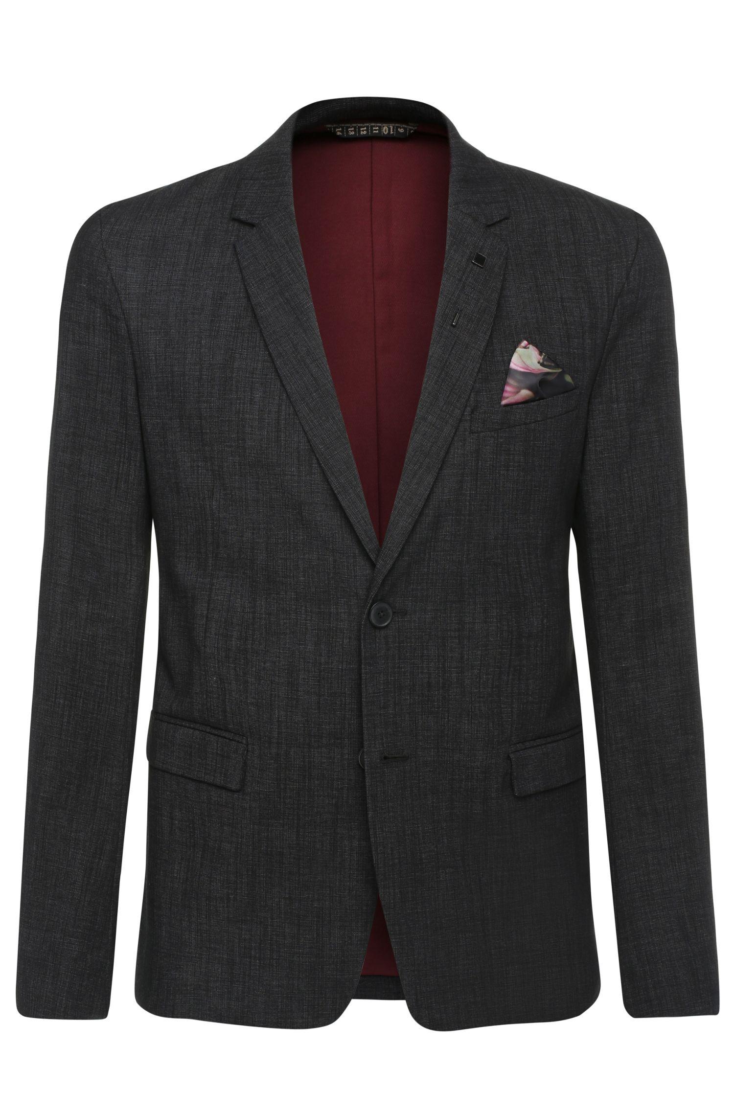 Textured slim-fit jacket in stretch cotton blend: 'Bistock_BS'