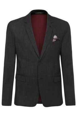 Veste de costume texturée Slim Fit, en coton mélangé extensible: «Bistock_BS», Noir