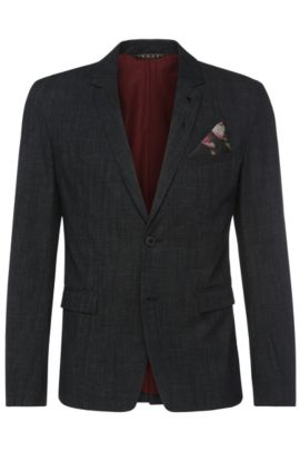 Textured slim-fit jacket in stretch cotton blend: 'Bistock_BS', Dark Blue