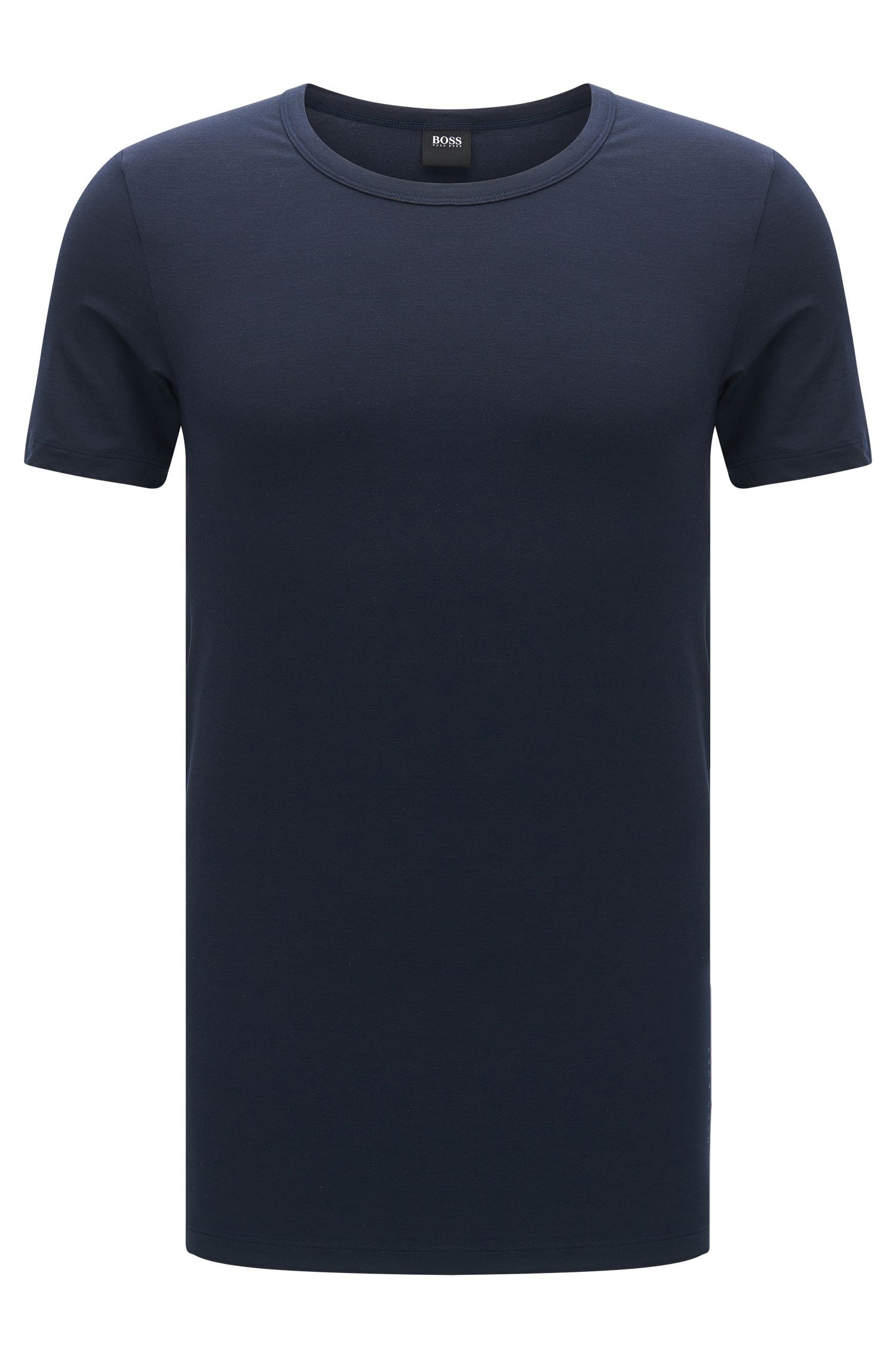 Slim-fit t-shirt in a breathable modal blend with elastane: 'T-Shirt RN Seacell'