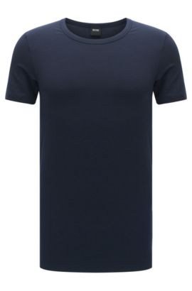 Slim-fit t-shirt in a breathable modal blend with elastane: 'T-Shirt RN Seacell', Dark Blue