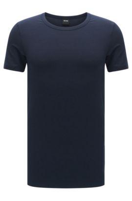 T-shirt slim fit in misto modal traspirante con elastan: 'T-Shirt RN Seacell', Blu scuro