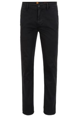 Tapered-fit trousers in stretch cotton, Black