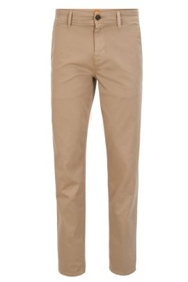 Tapered-fit broek van stretchkatoen, Beige