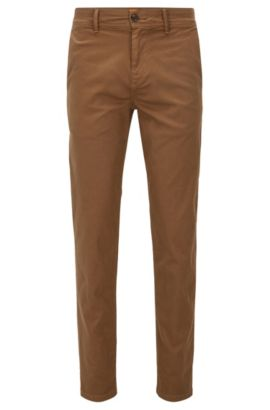 Pantalon Tapered Fit en coton stretch, Beige