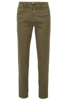 Pantaloni tapered fit in cotone elasticizzato, Verde scuro
