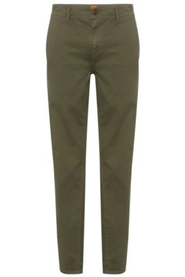 Tapered-fit trousers in stretch cotton, Green