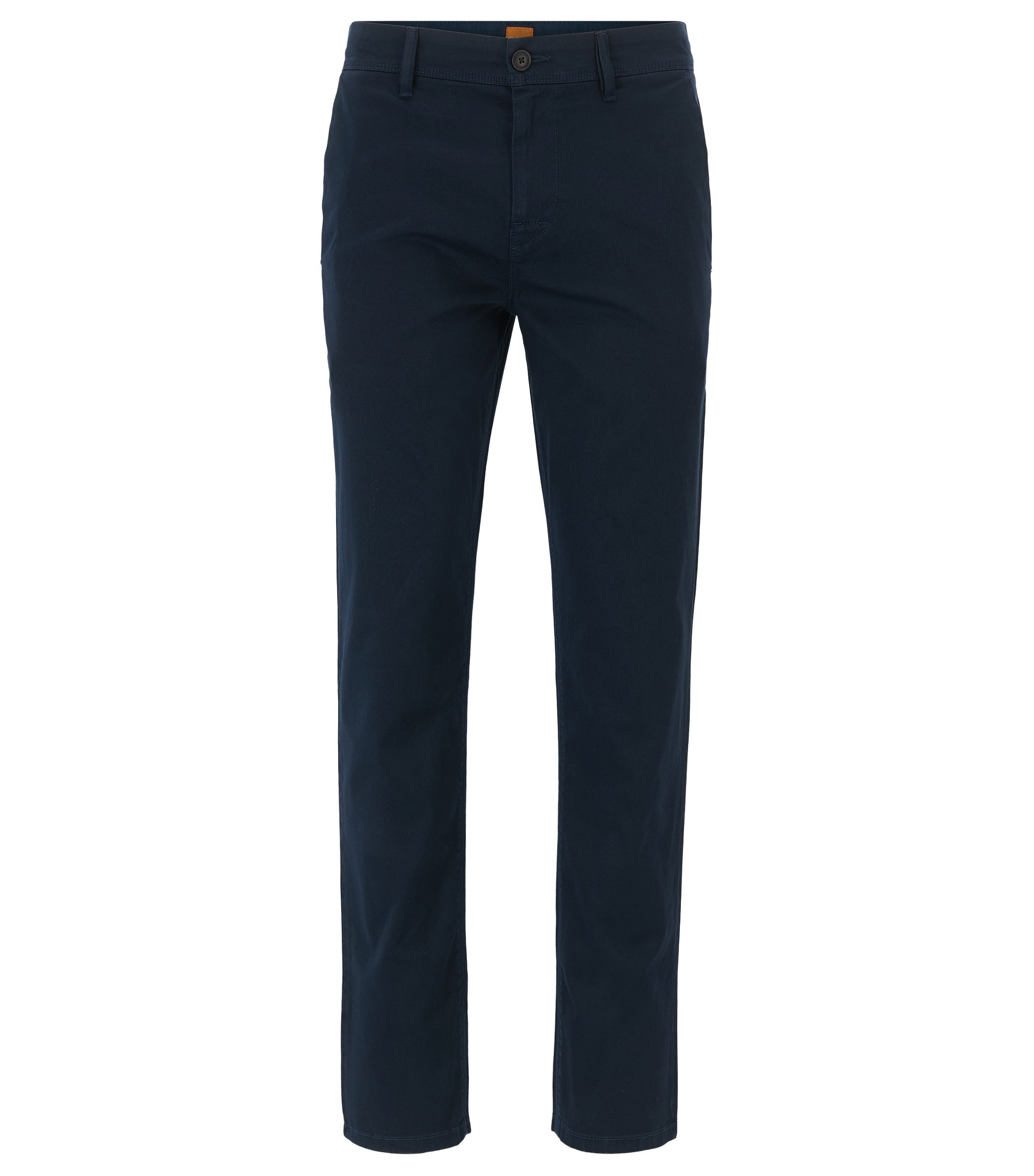 Pantaloni tapered fit in cotone elasticizzato, Blu scuro