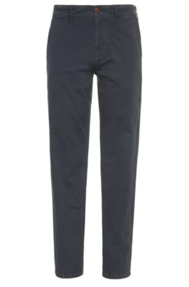 Tapered-fit trousers in stretch cotton, Dark Blue