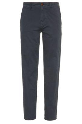 Pantalon Tapered Fit en coton stretch, Bleu foncé