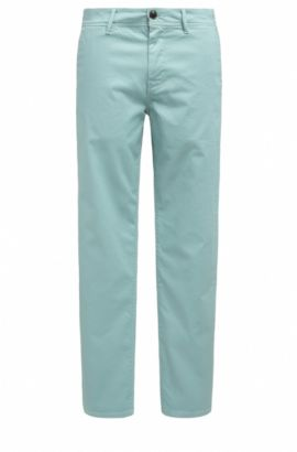 Pantalon Tapered Fit en coton stretch, Turquoise