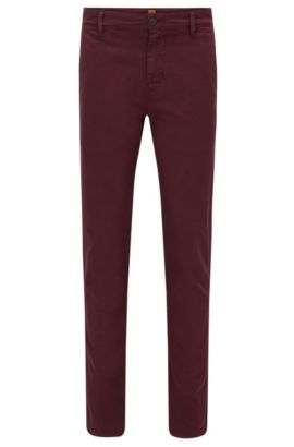 Tapered-fit trousers in stretch cotton, Dark Red