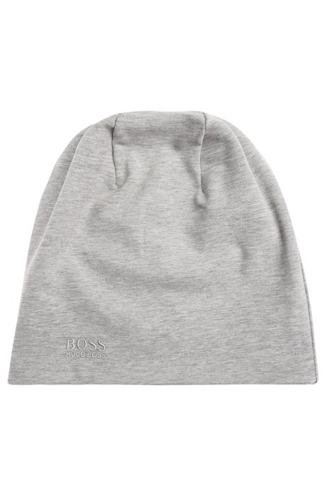 Reversible beanie in stretch cotton: 'Beanie-jersey', Light Grey