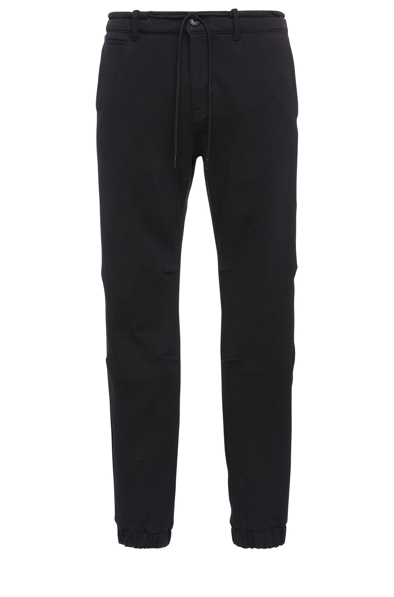 Tapered-fit broek van een katoenmix in joggingbroekstijl: 'Siman2-W'