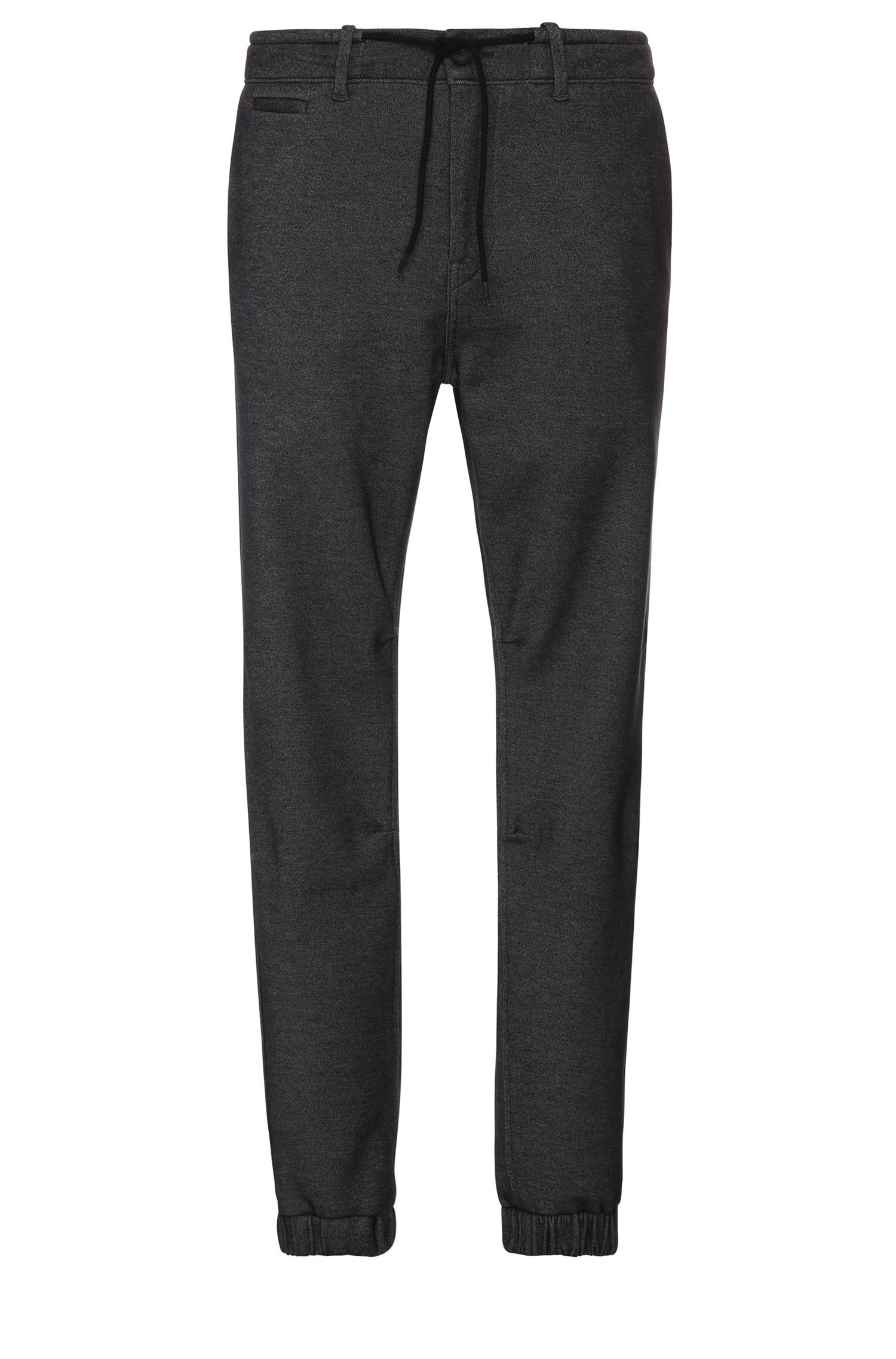 Tapered-fit trousers in cotton blend in jogger look: 'Siman2-W'
