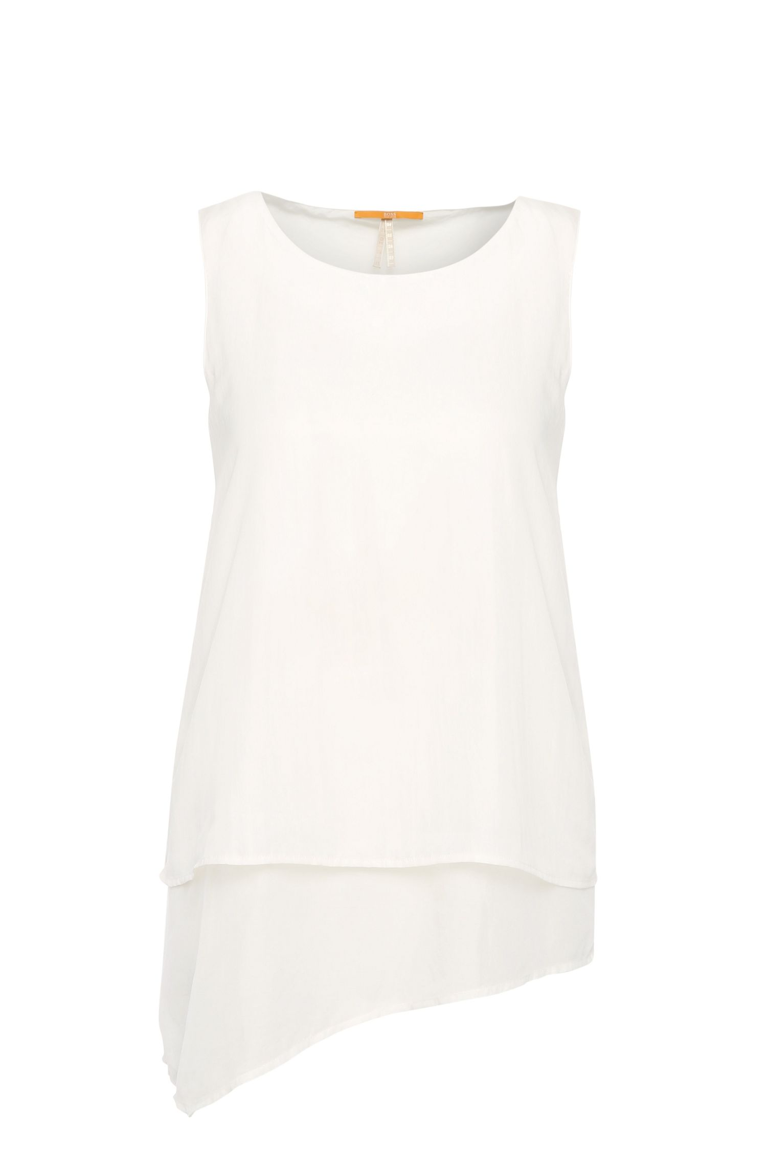 Slim-fit top in silk blend with cotton in a layered look: 'Evelo'