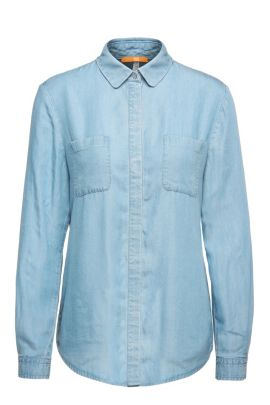 Relaxed-fit blouse in a denim-look fabric blend: 'Ejey2', Light Blue