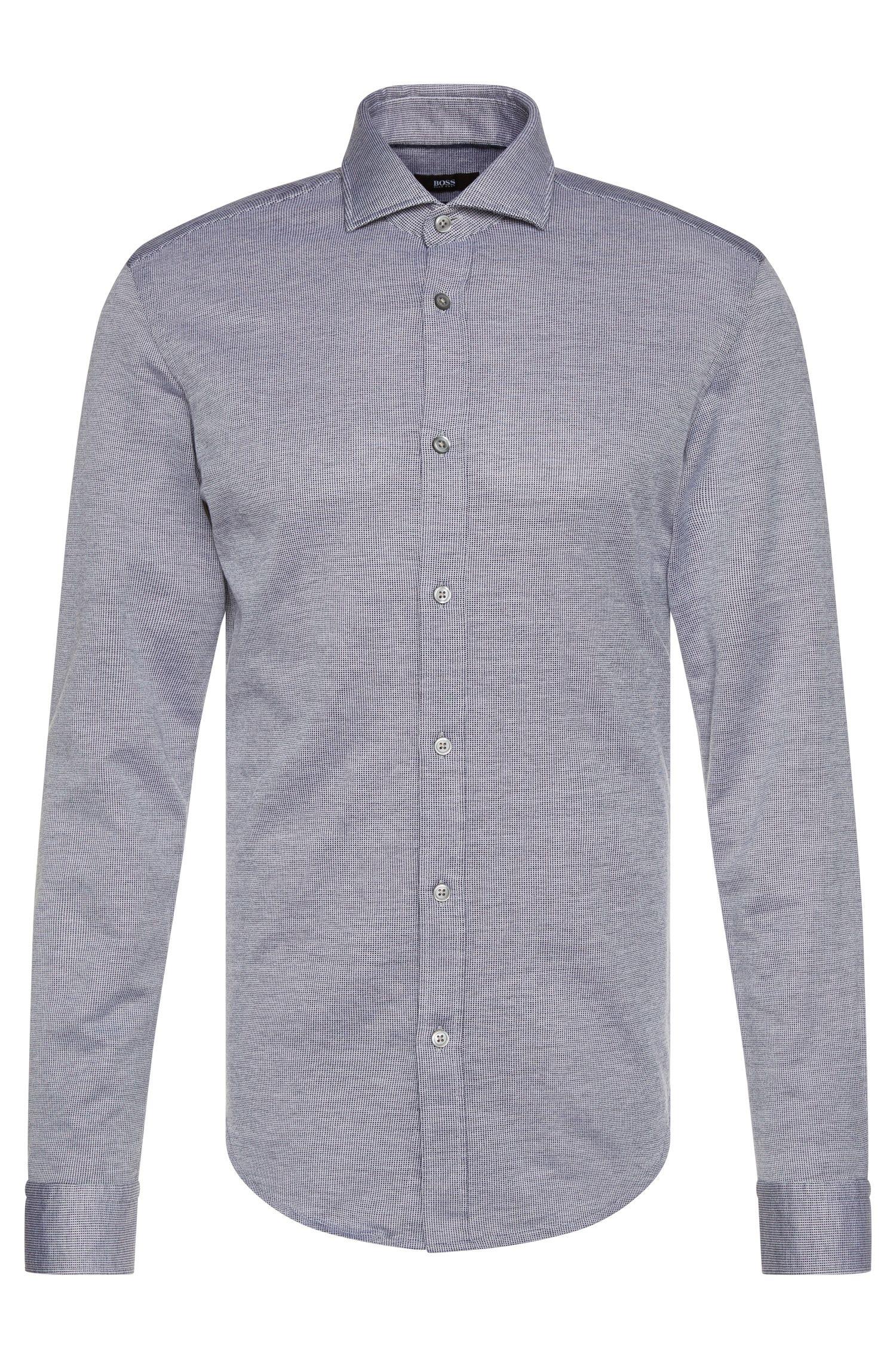 Slim-fit overhemd van katoen met een fijn dessin: 'Ridley'