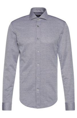 Slim-fit overhemd van katoen met een fijn dessin: 'Ridley', Donkerblauw