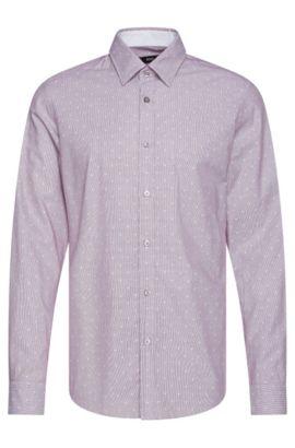 Fein gestreiftes Regular-Fit Hemd aus Baumwolle: 'Lukas_37', Dunkel Lila